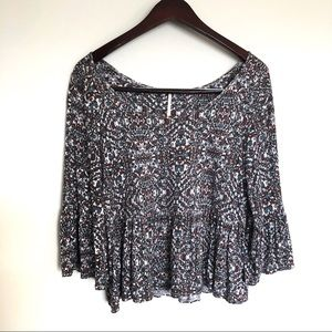 Free People Boho Floral Bell Sleeve Blouse